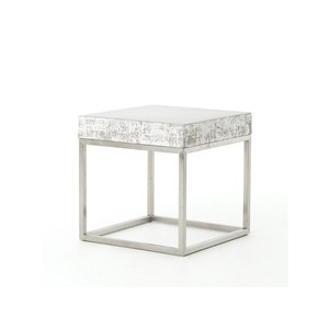 Concrete and Chrome Indoor/Outdoor End Table | Four Hands