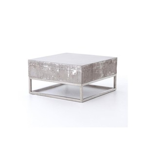 Concrete and Chrome Indoor/Outdoor Coffee Table | Four Hands
