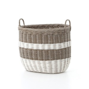 Vintage Gray-and-White Striped Basket