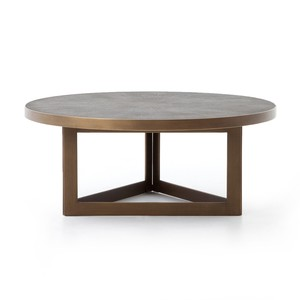 Shagreen Round Coffee Table   Four Hands