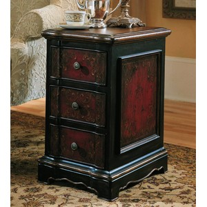 Three-Drawer Black & Red Accent Chest