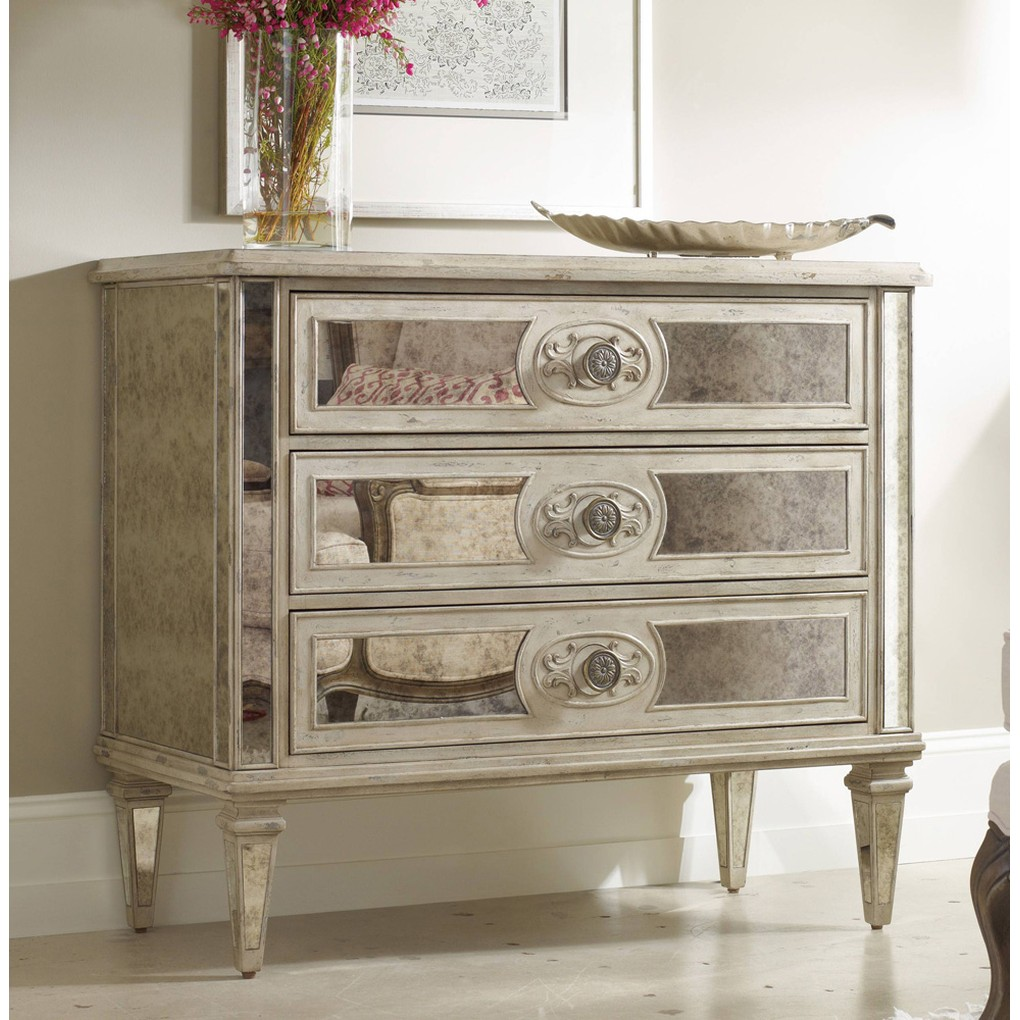 Three Drawer Antique-Mirrored Chest   Hooker Furniture