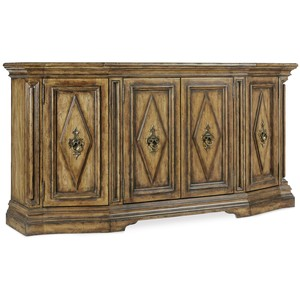 Auberose Four-Door Credenza | Hooker Furniture