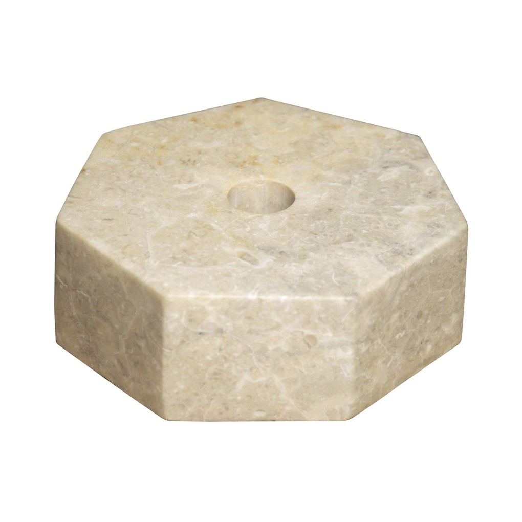 Octagon Candle Holder in White Marble   Noir