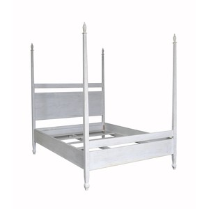 Venice Poster Bed in White Wash Finish | Noir