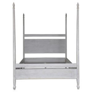 Venice Poster Bed in White Wash Finish   Noir