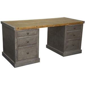 Hammered Zinc Desk | Noir