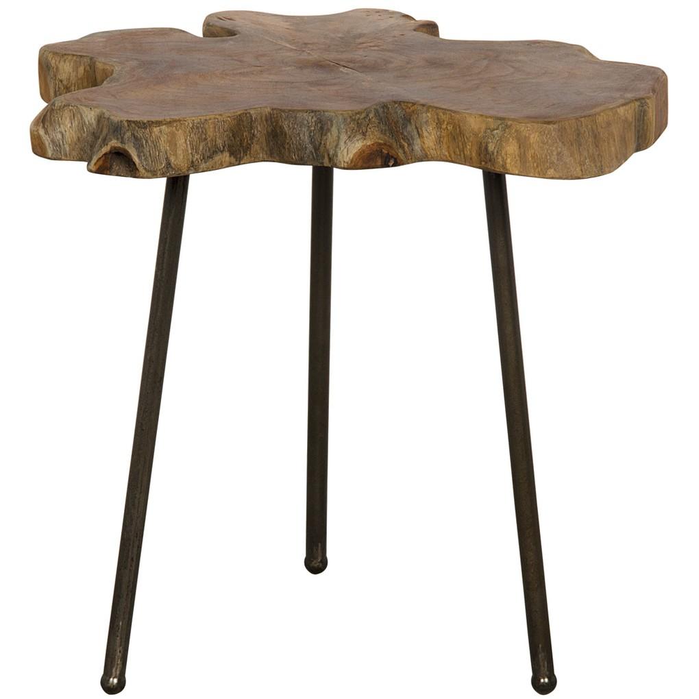 Slab Slice Table with Iron Base | Noir