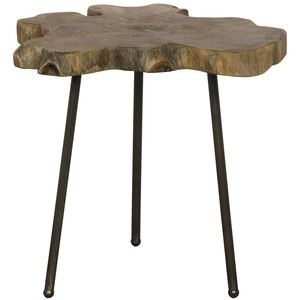 Slab Slice Table with Iron Base | Noir