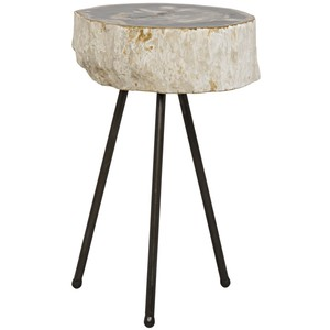 Natura Side Table with Petrified Top | Noir