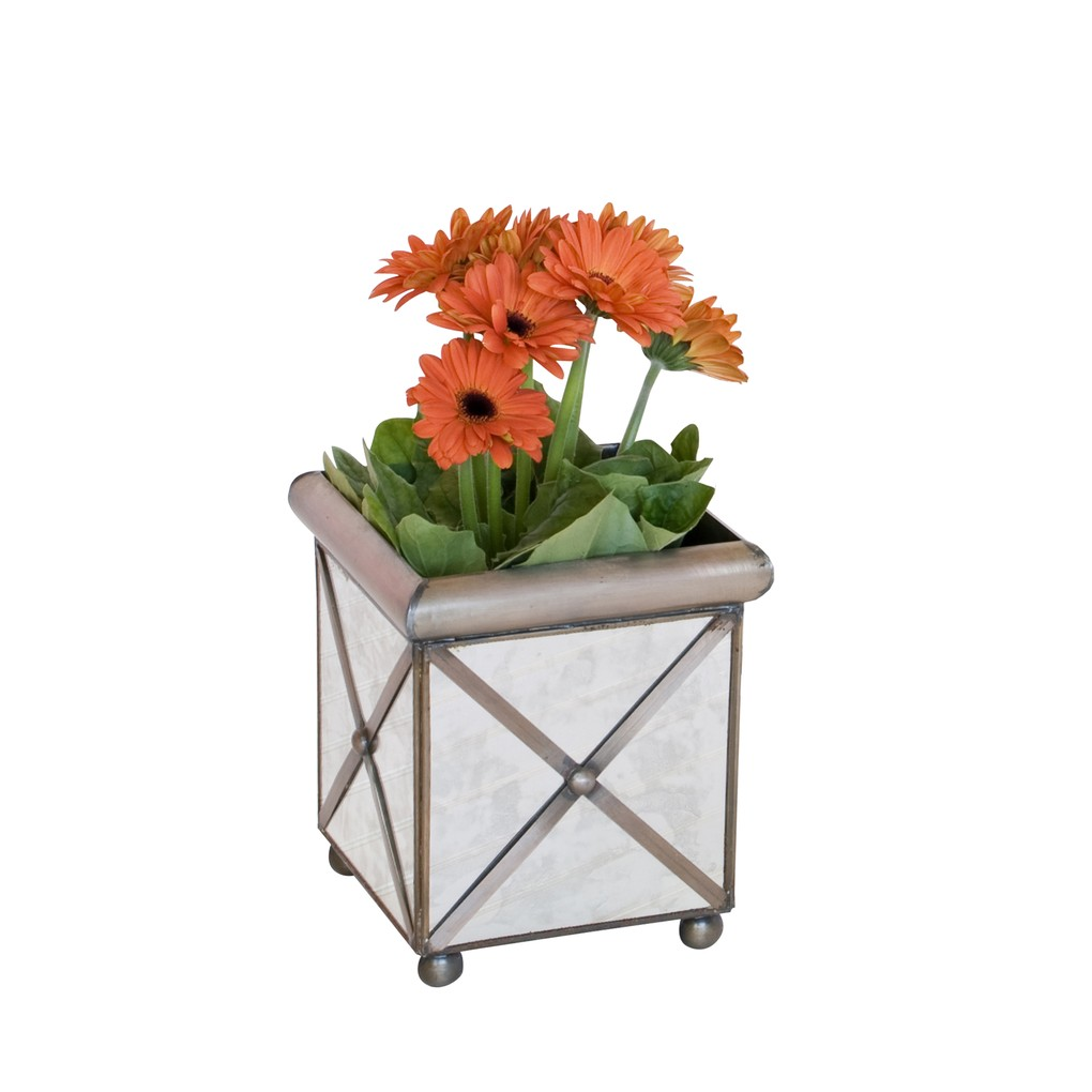Crosshatch Square Planter | Worlds Away