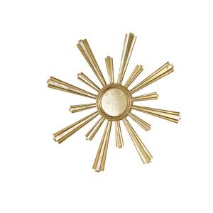 Handcarved Gold Leaf and Mirrored Starburst Mirror | Worlds Away