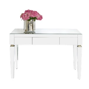 Beveled Mirror Three Drawer Desk | Worlds Away