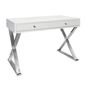 White Lacquer Desk withStainless Steel X Legs
