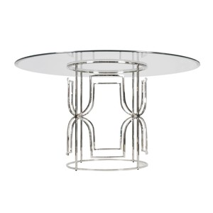 "Nickel Plated Dining Table with  54"" Glass Top"