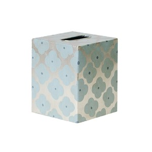 Kleenex Box Blue and Silver Floral