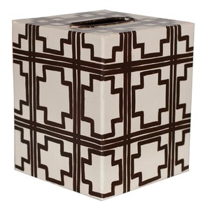Kleenex Box Cream and Brown Trellis