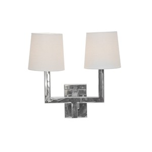 Nickel Plated 2 Arm Sconce With White Linen Shade