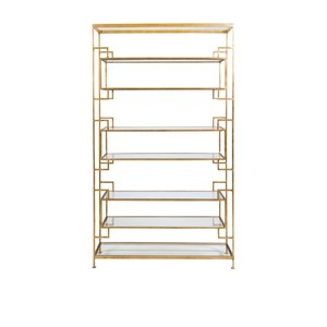 Tall Gold Leaf Etagere With Clear Glass Shelves | Worlds Away