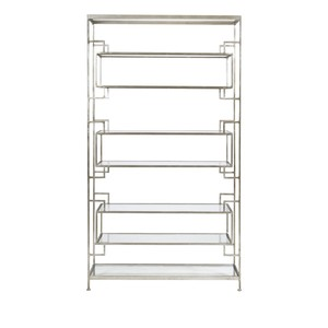 Silver Leafed Tall Etagere With Clear Glass Shelve | Worlds Away
