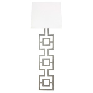 LG Silver LF Square Motif Sconce White Linen Shade