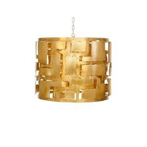 Brutalist Style  Gold Leaf Pendant 3 Light Cluster