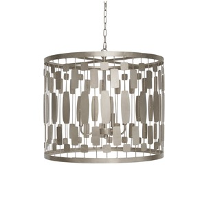 Silver Leaf Tin and Wire Pendant w 3 Light Cluster | Worlds Away