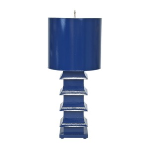 Pagoda Lamp Large With Metal Shade Navy | Worlds Away