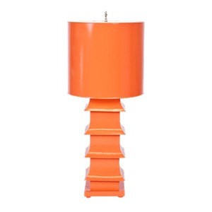 Pagoda Lamp Large With Metal Shade Orange   Worlds Away