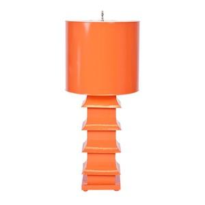 Pagoda Lamp Large With Metal Shade Orange | Worlds Away
