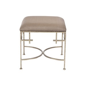 Lolita Silver Leaf Stool With Linen Top