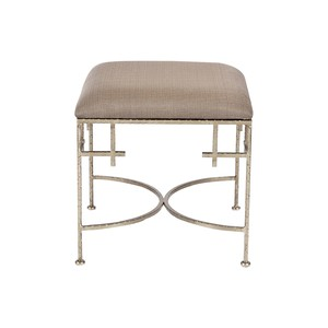 Lolita Silver Leaf Stool With Linen Top | Worlds Away