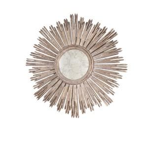 Silver Leaf Antiqued Starbust Mirror