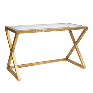 Mark Gold Leaf Desk Console with Beveled Glass Top