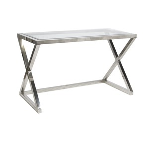Polished Stainless Steel Desk Console Glass Top | Worlds Away