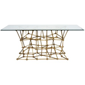 Gold Leaf Iron Dining Table | Worlds Away