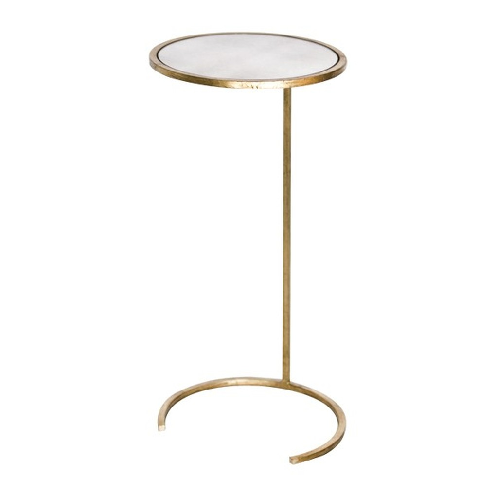 Small Round CigarTable Gold Leaf Antique Mirror   Worlds Away