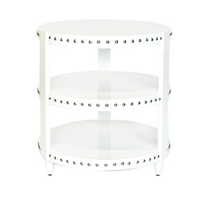 3 Tier White Lacquer Round Table with Nickel Studs