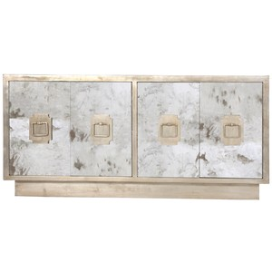 Four Door Silver Leaf Entertainment Console | Worlds Away