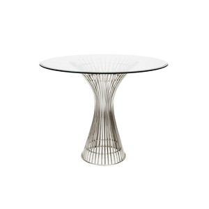 "Polished Stainless Steel 42"" Side Table 