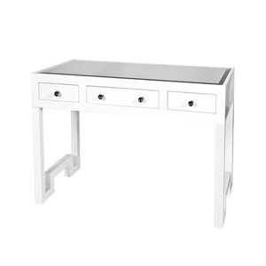 White Lacquer Three Drawer Desk