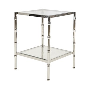 Nickel Plated Antique Color W. Bamboo Glass Table | Worlds Away