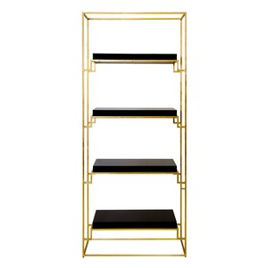 Gold Leaf Etagere with Black Lacquer Shelves | Worlds Away