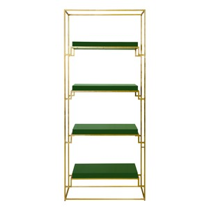 Gold Leaf Etagere with Green Lacquer Shelves | Worlds Away