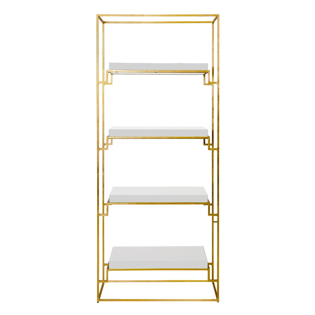 Gold Leaf Etagere with White Lacquer Shelves | Worlds Away