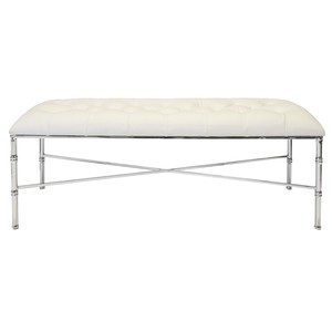 Nickel Bamboo Bench With Tufted White Vinyl Seat