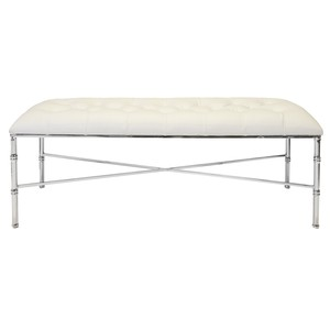 Nickel Bamboo Bench With Tufted White Vinyl Seat | Worlds Away