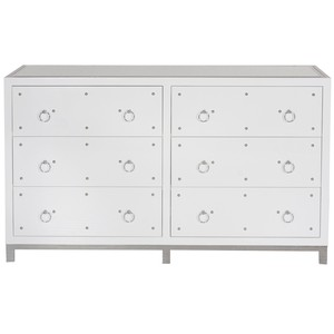 Six Drawer Studly Dresser in White