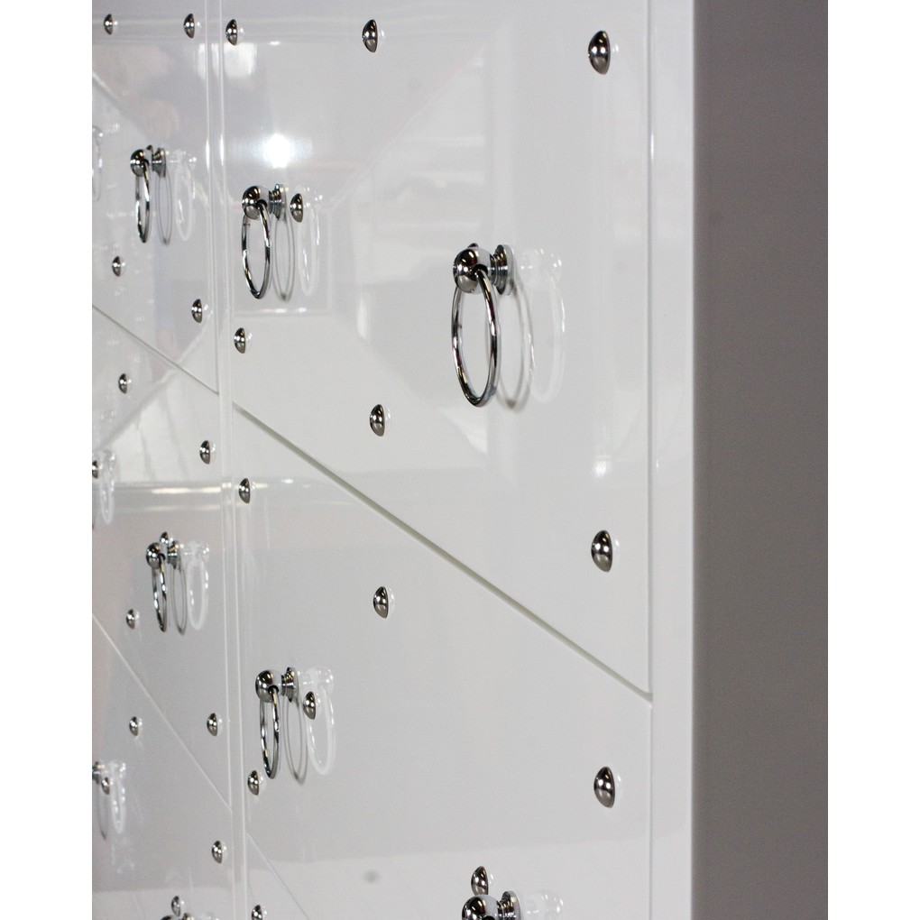 Six Drawer Studly Dresser in White | Worlds Away