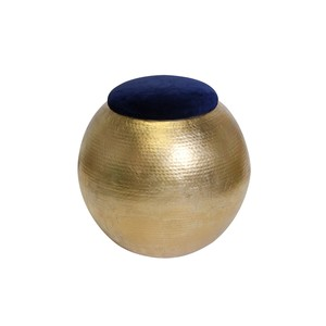 Gold Leaf Hammered Round Stool with Navy Velvet
